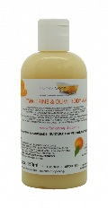 1 BOTTLE LIQUID TANGERINE & OLIVE BODY WASH, HANDMADE & NATURAL, APPROX 150ML