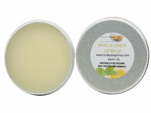 BASIL & LEMON LIP BALM, HANDMADE AND VEGAN, 1 TIN OF 15G