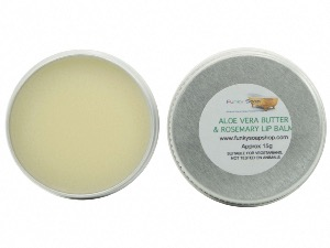 Aloe Vera & Rosemary Lip Balm, 100% Handmade And Natural, 1 Tin Of 15g