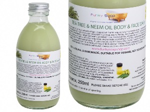 Tea Tree Neem Oil Liquid Face & Body Wash, Glass Bottle of 250ml