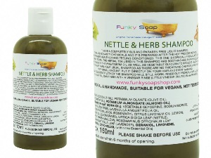 1 BOTTLE LIQUID NETTLE & HERB SHAMPOO, HANDMADE & NATURAL, APPROX 150ML