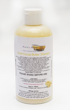 1 BOTTLE LIQUID COCOA BUTTER SHAMPOO, HANDMADE & NATURAL, APPROX 250ML