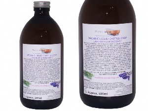 Organic Liquid Castile Soap With Lavender And Rosemary, 1 Glass Bottle Of 500ml