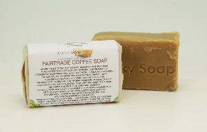 1 PIECE FAIRTRADE COFFEE SOAP, NATURAL & HANDMADE, APPROX 65G