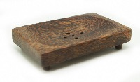 COCONUT WOOD SQUARE SOAPDISH