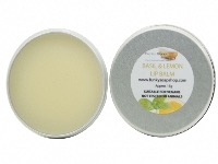 Vegan Basil & Lemon Lip Balm, 100% Handmade And Natural, 1 Tin Of 15g