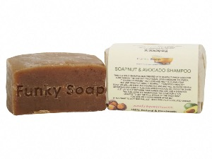 Soapnut & Avocado Solid Shampoo Bar, Natural & Handmade, Approx. 120g
