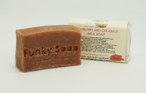 1 PIECE GOJI BERRY & COCNUT MILK SOAP, NATURAL & HANDMADE, APPROX 65G