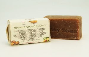 1 PIECE SOAPNUT & AVOCADO SOLID SHAMPOO BAR, NATURAL & HANDMADE, APPROX. 65G