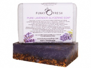 Pure Lavender Glycerine Soap infused with Lavender Flowers, 100% Natural & Handmade, 95g