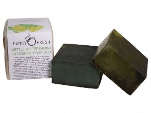 Nettle & Peppermint Glycerine Soap Duo, 100% Natural & Handmade, 130g
