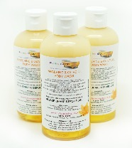 1 BOTTLE LIQUID TANGERINE & OLIVE BODY WASH, HANDMADE & NATURAL, APPROX 250ML
