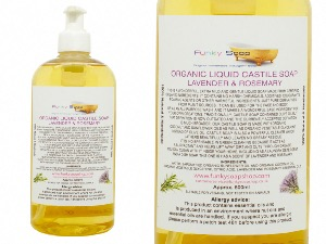 ORGANIC LIQUID CASTILE SOAP WITH LAVENDER AND ROSEMARY 1 BOTTLE OF 500 ML