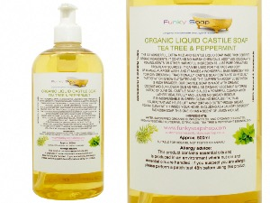 Organic Liquid Castile Soap With Tea Tree And Peppermint, 1 Bottle Of 500ml