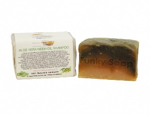 Aloe Vera & Neem Oil Solid Shampoo Bar, Natural & Handmade, Approx 120g