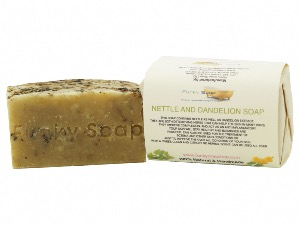 1 PIECE NETTLE AND DANDELION SOAP, NATURAL & HANDMADE, APPROX 120G